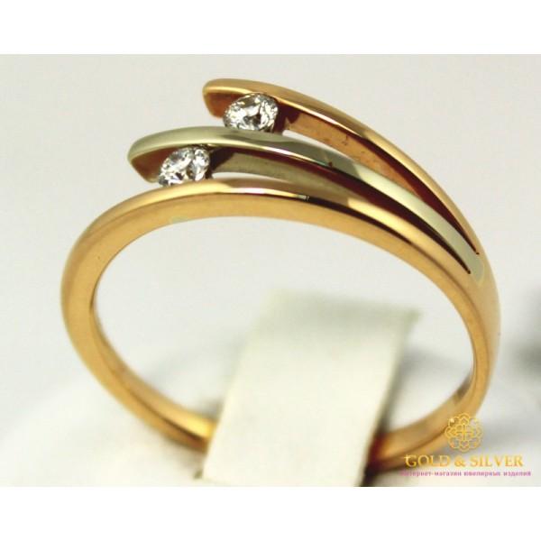 Золотое кольцо 585 проба. Кольцо женское с красного и белого золота с вставкой Бриллиант. 10970 , Gold &amp Silver Gold & Silver, Украина