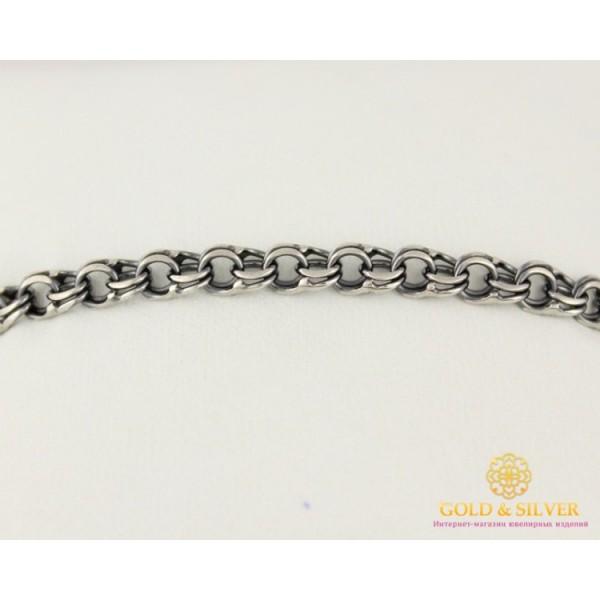 Серебряный Браслет 925 проба. Браслет серебряный черненый, плетение Бисмарк Плоский 4052-1 , Gold &amp Silver Gold & Silver, Украина