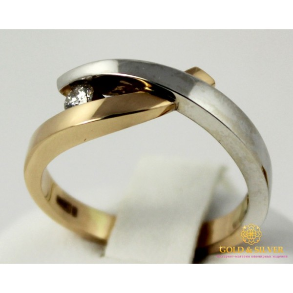 Золотое кольцо 585 проба. Кольцо Блиц с красного и белого золота с бриллиантом. 11191 , Gold &amp Silver Gold & Silver, Украина