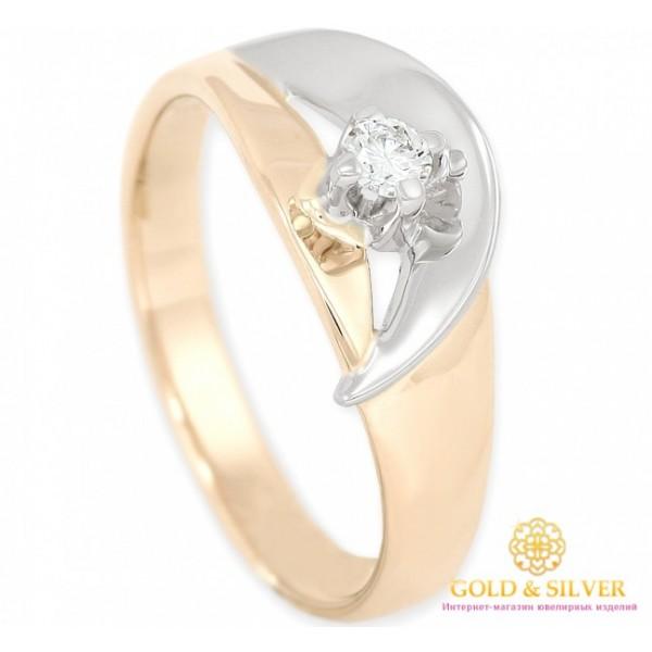 Золотое Кольцо 585 проба. Женское кольцо красное и белое золото, с вставкой бриллиант. 11270 , Gold & Silver Gold & Silver, Украина