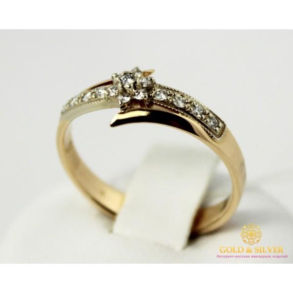 Золотое кольцо 585 проба. Кольцо Женское Цветок с красного и белого золота с вставкой Бриллиант 12930 , Gold & Silver Gold & Silver, Украина