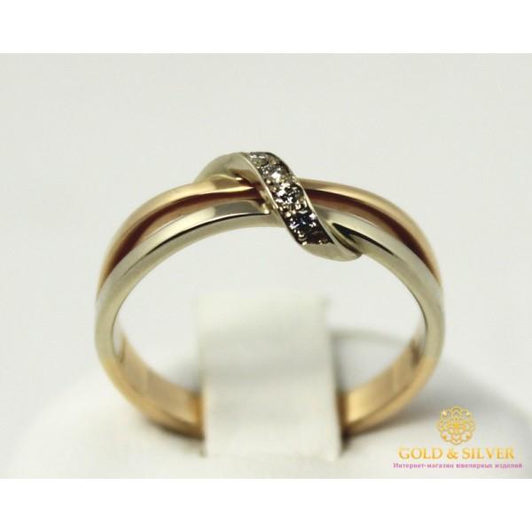 Золотое кольцо 585 проба. Кольцо с красного и белого золота, с вставкой Бриллиант. 13320 , Gold & Silver Gold & Silver, Украина