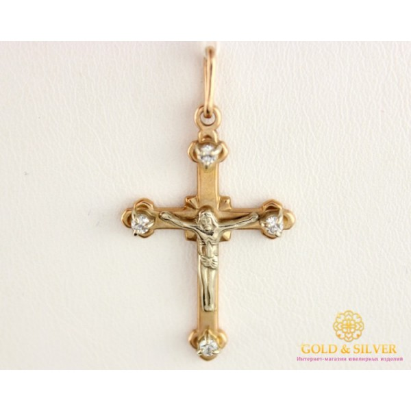 Золотой Крест 585 проба. Крестик Белое и Красное Золото 5141700 , Gold & Silver Gold & Silver, Украина
