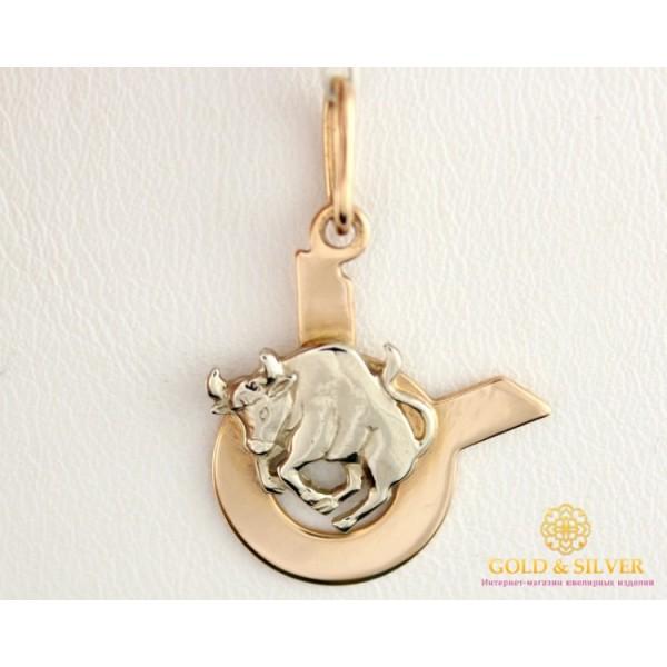 Золотой Кулон 585 проба. Подвес с красного и белого золота, знак зодиака Телец 8042020 , Gold &amp Silver Gold & Silver, Украина