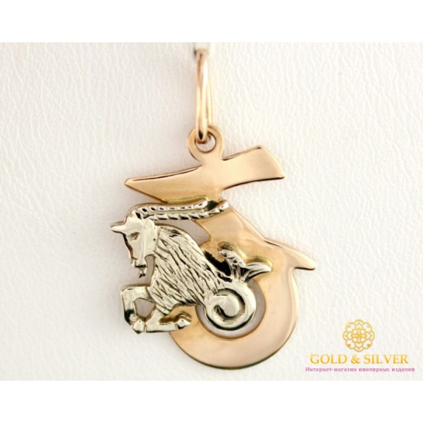 Золотой Кулон 585 проба. Подвес с красного и белого золота, Знак Зодиака Козерог 8042100 , Gold &amp Silver Gold & Silver, Украина