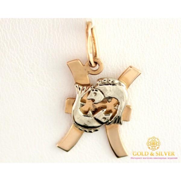 Золотой Кулон 585 проба. Подвес с красного и белого золота, Знак Зодиака Рыбы 8042120 , Gold &amp Silver Gold & Silver, Украина