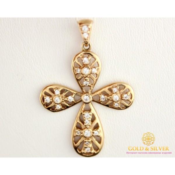 Золотой кулон 585 проба. Крест с красного золота, с россыпью камней.kp019i , Gold & Silver Gold & Silver, Украина