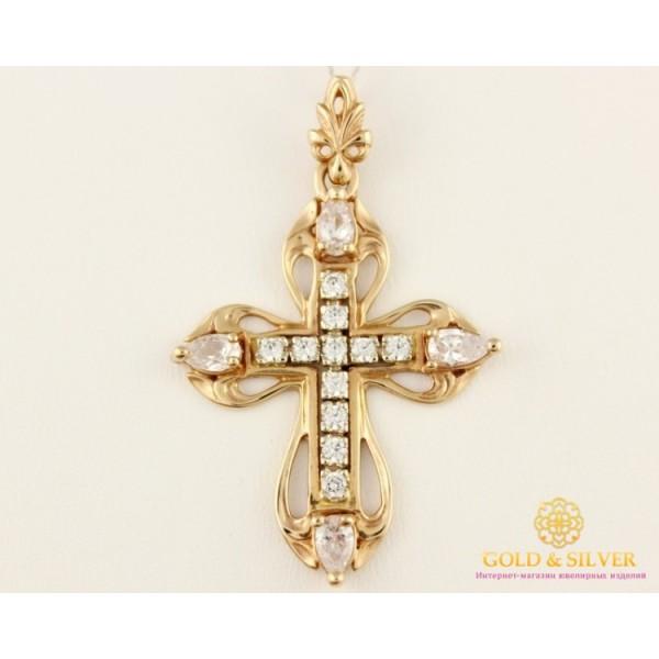 Золотой Крест 585 проба. Женский крест скрасного золота, с камнями. kp022i , Gold & Silver Gold & Silver, Украина