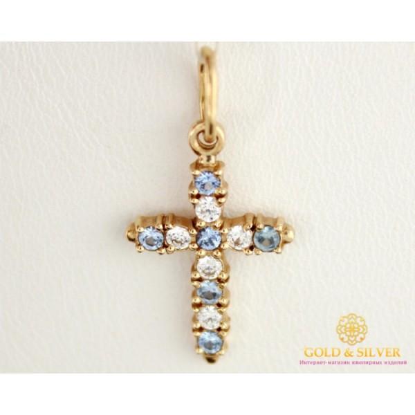 Золотой Крестик голубой камень kp0093 , Gold &amp Silver Gold & Silver, Украина