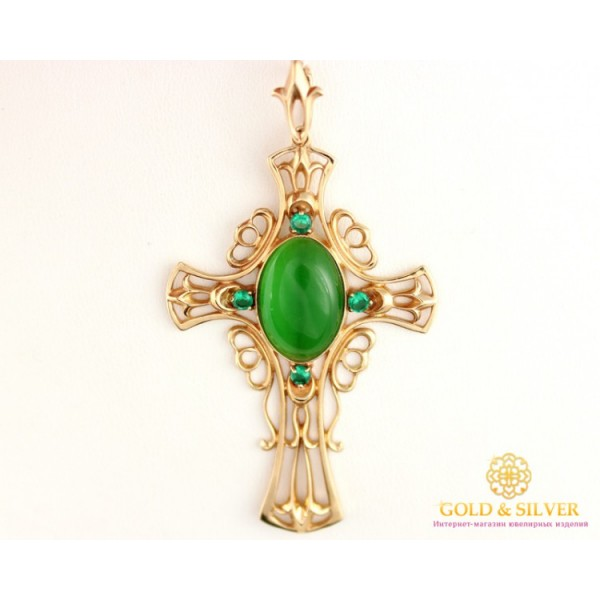 Золотой Крест 585 проба. Крест с красного золота, Ажурный зеленный камень kp101i , Gold &amp Silver Gold & Silver, Украина