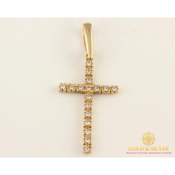 Золотой Крест 585 проба. Крест с красного золота, россыпь камней kp267 , Gold & Silver Gold & Silver, Украина