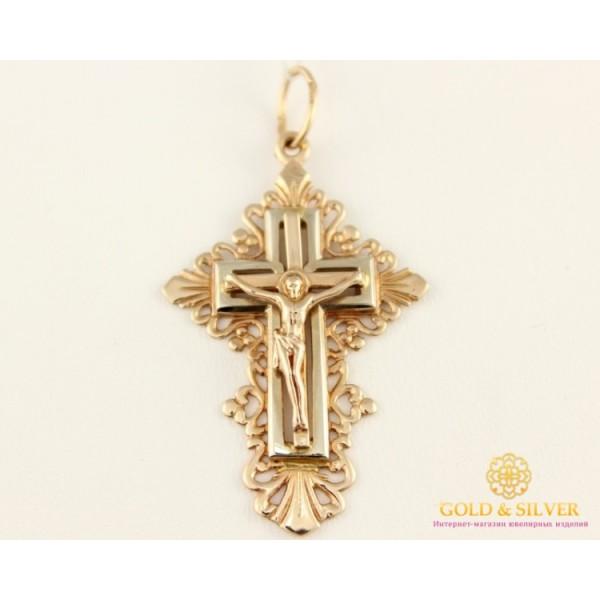 Золотой Крест 585 проба. Крест с красного и белого золота p47 , Gold & Silver Gold & Silver, Украина