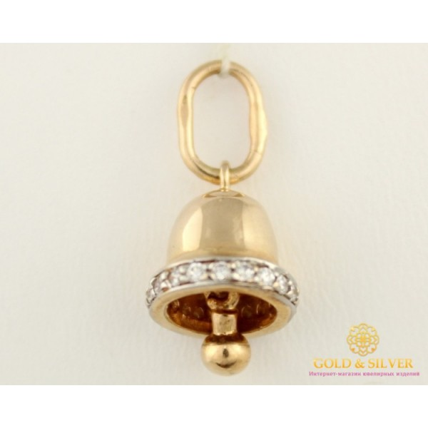 Золотой Кулон 585 проба. Подвес с красного и белого золота, Колокольчик pv765 , Gold & Silver Gold & Silver, Украина