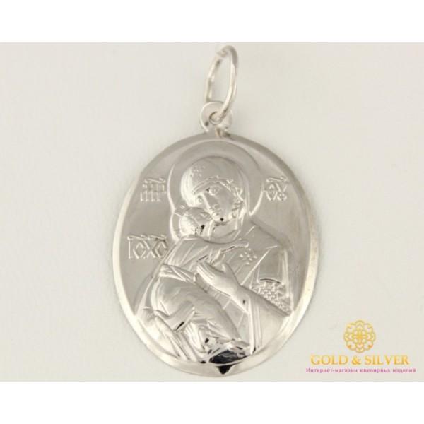 Серебряная Нательная Икона Божья Матерь 100144c , Gold &amp Silver Gold & Silver, Украина