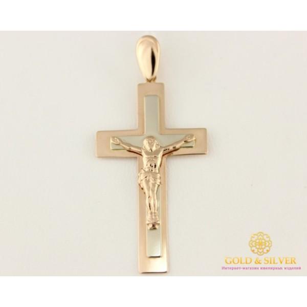 Золотой Крест 585 проба. Крестик с красного и белого золота, 2,34 грамма. 210072 , Gold & Silver Gold & Silver, Украина