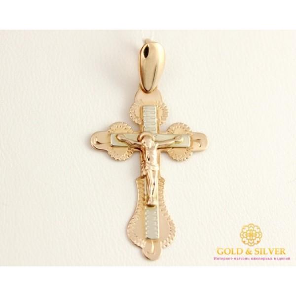 Золотой Крест 585 проба. Крест с красного и белого золота 210037 , Gold &amp Silver Gold & Silver, Украина