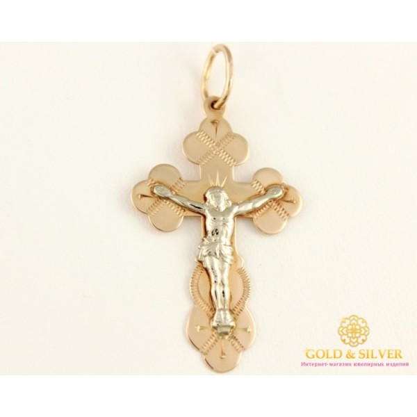 Золотой Крест 585 проба. Крестик Красное и Белое Золото, 1,49 грамма. 230004 , Gold & Silver Gold & Silver, Украина