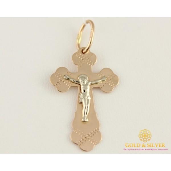 Золотой Крест 585 проба. Крест красное и белое золото 1,09 грамма. 230124 , Gold & Silver Gold & Silver, Украина