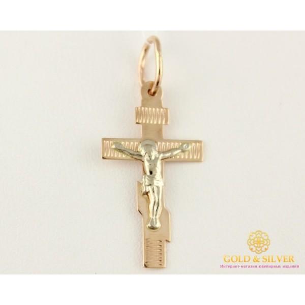 Золотой Крест 585 проба. Крестик с красного и белого золота,  0,74 грамма. 230051 , Gold &amp Silver Gold & Silver, Украина