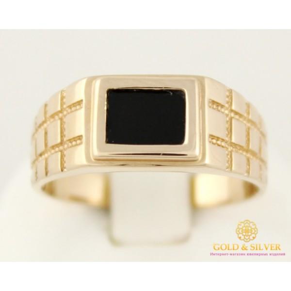 Золотое кольцо 585 проба. Мужское кольцо с красного золота, с черной эмалью 4,76 грамма. pch023i , Gold & Silver Gold & Silver, Украина