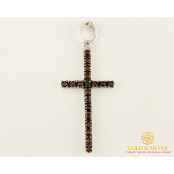 Серебряный Крест 925 проба. Крестик с камнями Классика 3622r , Gold & Silver Gold & Silver, Украина