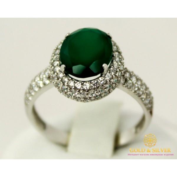 Серебряное кольцо 925 проба. Женское серебряное Кольцо Диво с вставкой Зеленый Агат 15929r1 , Gold & Silver Gold & Silver, Украина