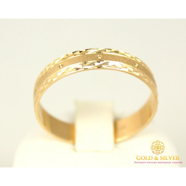 Золотое кольцо 585 проба. Обручальное Кольцо с красного золота с алмазной огранкой. ok122 , Gold & Silver Gold & Silver, Украина