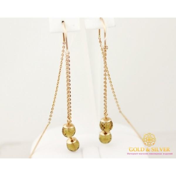 Золотые Серьги 585 проба. Женские серьги с красного золота, с вставкой кварц. Протяжки Шарики 588034 , Gold &amp Silver Gold & Silver, Украина