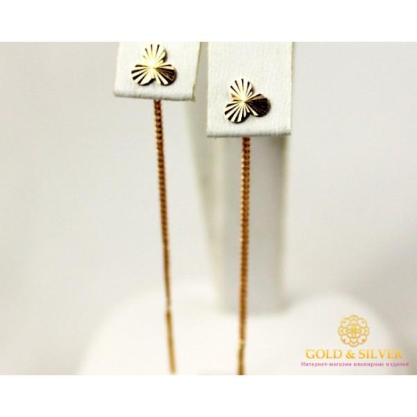 Золотые Серьги 585 проба. Женские серьги с красного золота Протяжки без вставок 101094 , Gold & Silver Gold & Silver, Украина