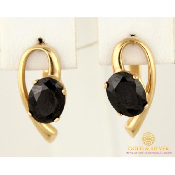 Золотые Серьги 585 проба. Женские серьги с красного золота, Черная Ночь вставка черный камень cv08710i , Gold & Silver Gold & Silver, Украина