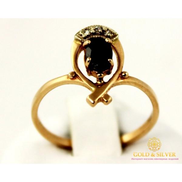 Золотое кольцо 585 проба. Женское Кольцо с красного золота с вставкой черного камня. 2,28 грамма. kv979010i , Gold & Silver Gold & Silver, Украина
