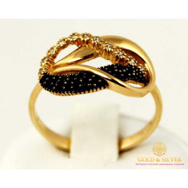 Золотое кольцо 585 проба. Женское Кольцо с красного золота с вставкой белых и черных камней. 3,56 грамма. kv508010i , Gold &amp Silver Gold & Silver, Украина