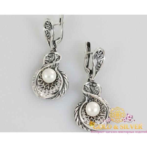 Серебряные серьги 925 проба. Женские серьги Окинава с жемчугом. 2277 , Gold & Silver Gold & Silver, Украина