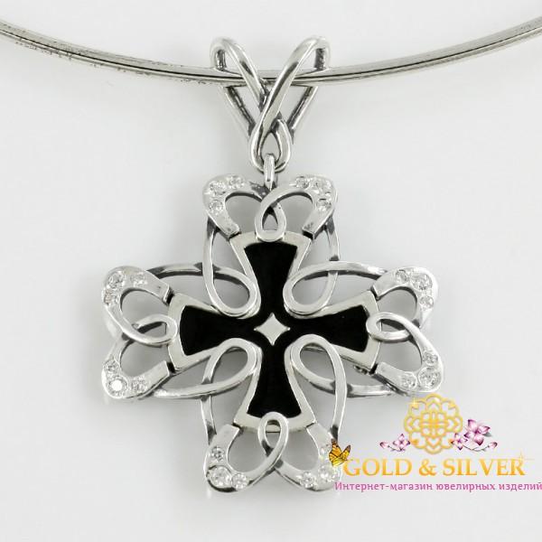 Серебряный подвес Крест ажурный из серебра 925 пробы с вставкой черной эмали. 3215 , Gold & Silver Gold & Silver, Украина