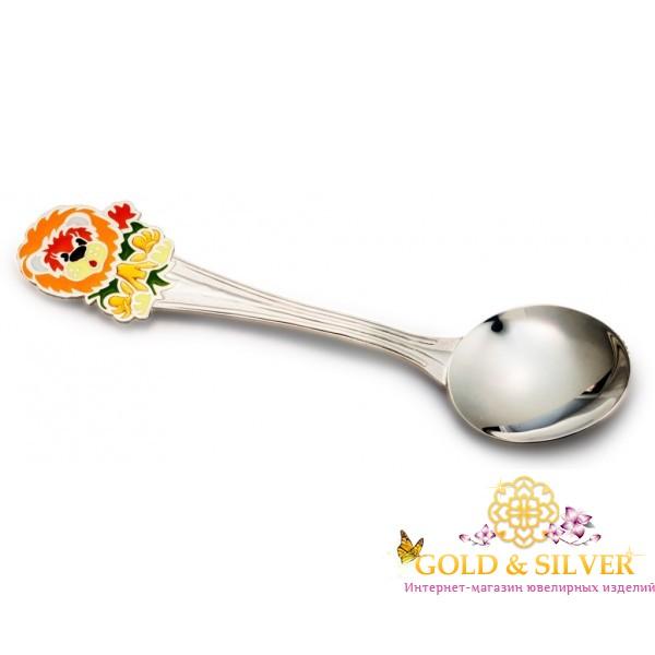 Серебряная детская ложечка Львенок 080522258 , Gold & Silver Gold & Silver, Украина