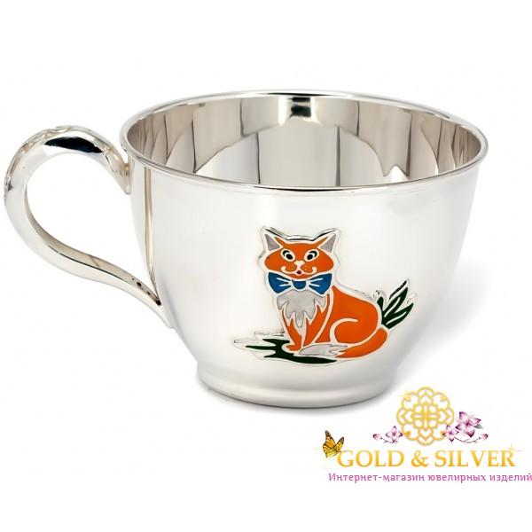 Серебряная детская Чашка Котик 080544 , Gold & Silver Gold & Silver, Украина