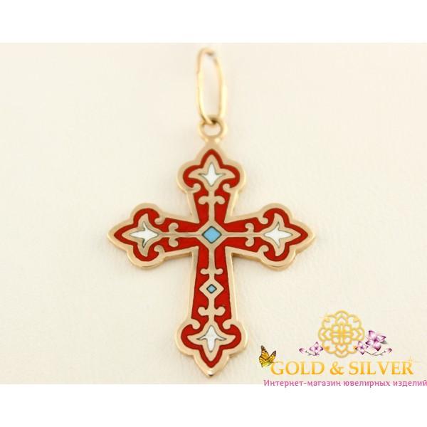 Золотой Крест 585 проба. Крестик с красной эмалью, 2,36 грамма. e1 , Gold &amp Silver Gold & Silver, Украина