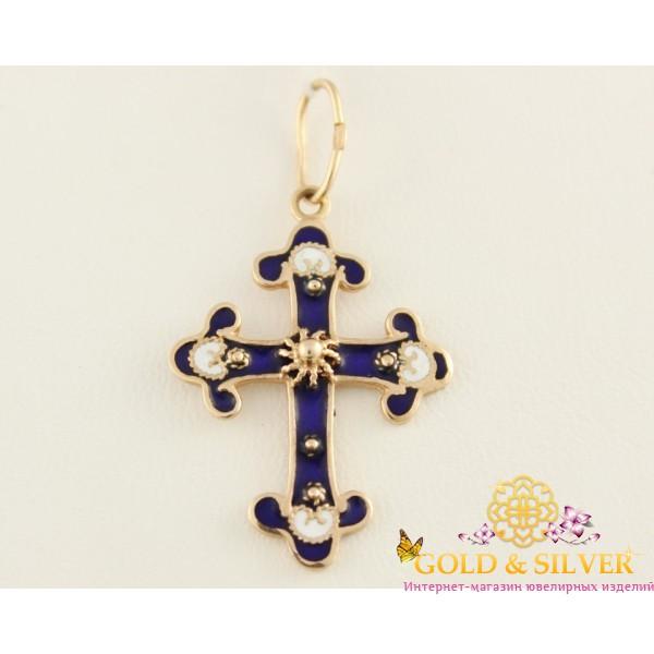Золотой Крест 585 проба. Крест с красного золота, Эмаль Синий e2 , Gold & Silver Gold & Silver, Украина