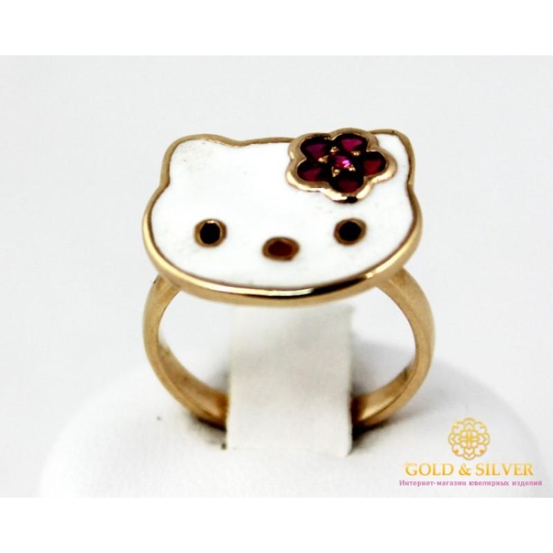 Золотое кольцо 585 проба. Золотое детское Кольцо Hello Kitty с эмалью 4,05  грамма. kv186i 0339592d77a
