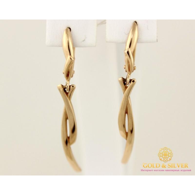 Золотые Серьги 585 проба. Женские серьги с красного золота, Танец без  камней 23181 008081ae390