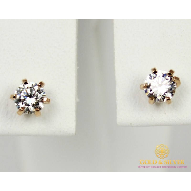 906b91e07b7f Золотые Серьги 585 проба. Женские серьги с красного золота, Пуссеты  Swarovski (Сваровски) сп020(s)и