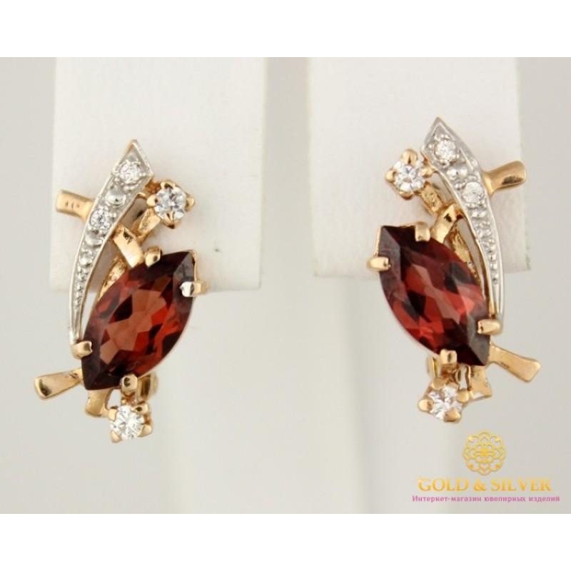 Золотые Серьги 585 проба. Женские серьги с красного золота, вставка Гранат  3,49 грамма 12531 45f4456dc2c
