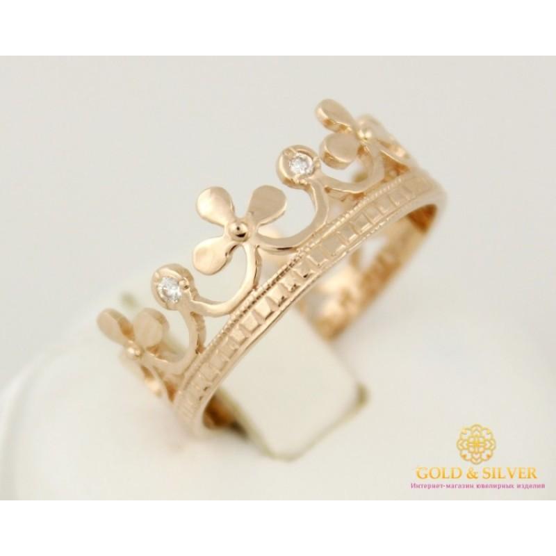 Купить Золотое кольцо 585 проба. Женское кольцо Корона с красного ... 3e43c7a599956