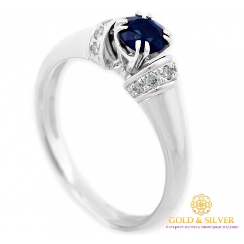 Золотое кольцо 585 проба. Женское кольцо с белого золота с бриллиантами и  сапфиром. 11018 fa39d51f0ca