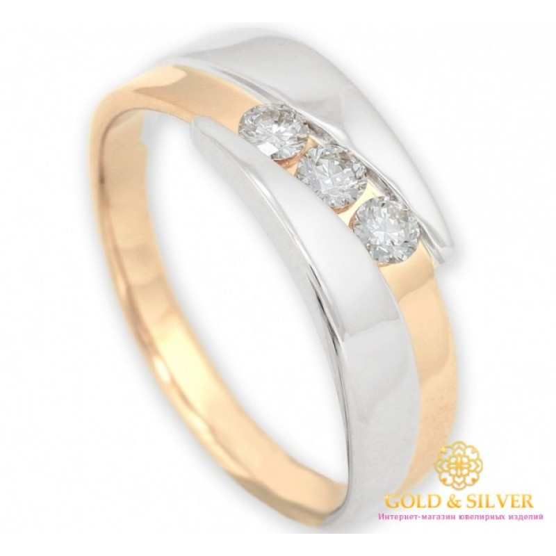 Золотое кольцо 585 проба. Обручальное кольцо с красного и белого золота с  вставкой Три бриллианта. 11960 aaf3816b114