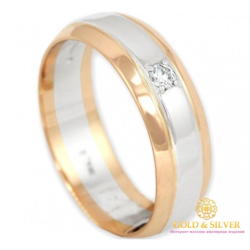Золотое кольцо 585 проба. Классическое обручальное кольцо с красного и белого  золота с бриллиантом. 12730 a89650b1f15c8