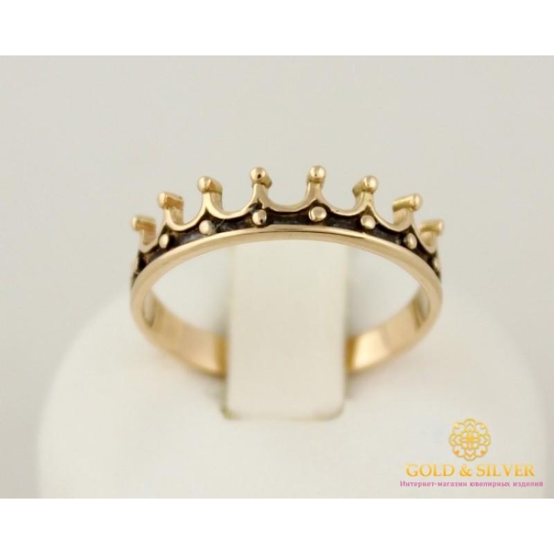 Золотое кольцо 585 проба. Кольцо унисекс с красного золота и черной эмалью.  Корона. кв641(г)и f2c6568ba3750