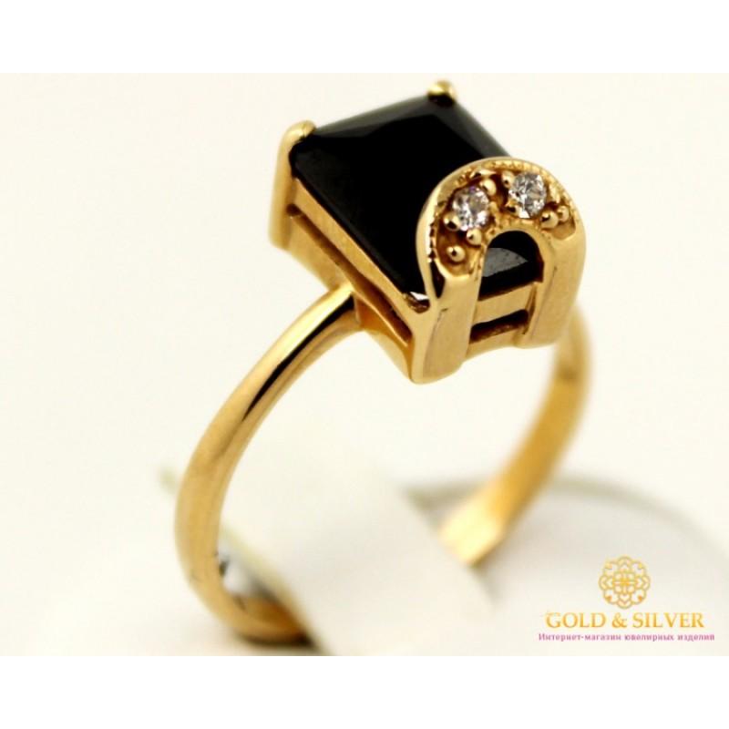 Золотое кольцо 585 проба. Женское Кольцо 3,81 грамма. Черный камень.  kv18810i 882c159372f