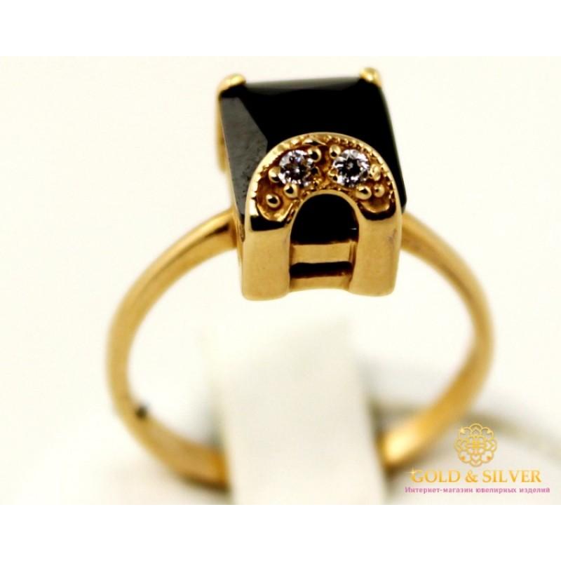 Золотое кольцо 585 проба. Женское Кольцо 3,81 грамма. Черный камень.  kv18810i f29bfb8c7eb