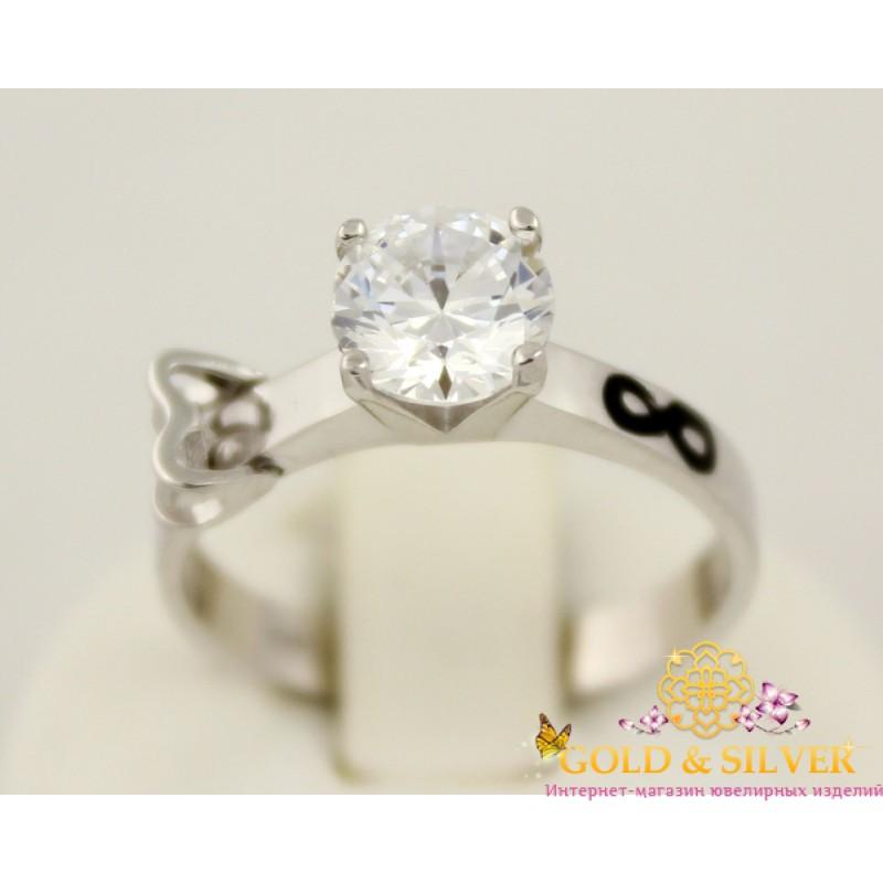 Купить Серебряное кольцо с камушком и знаком бесконечности 10189е ... bffec7c3ca193
